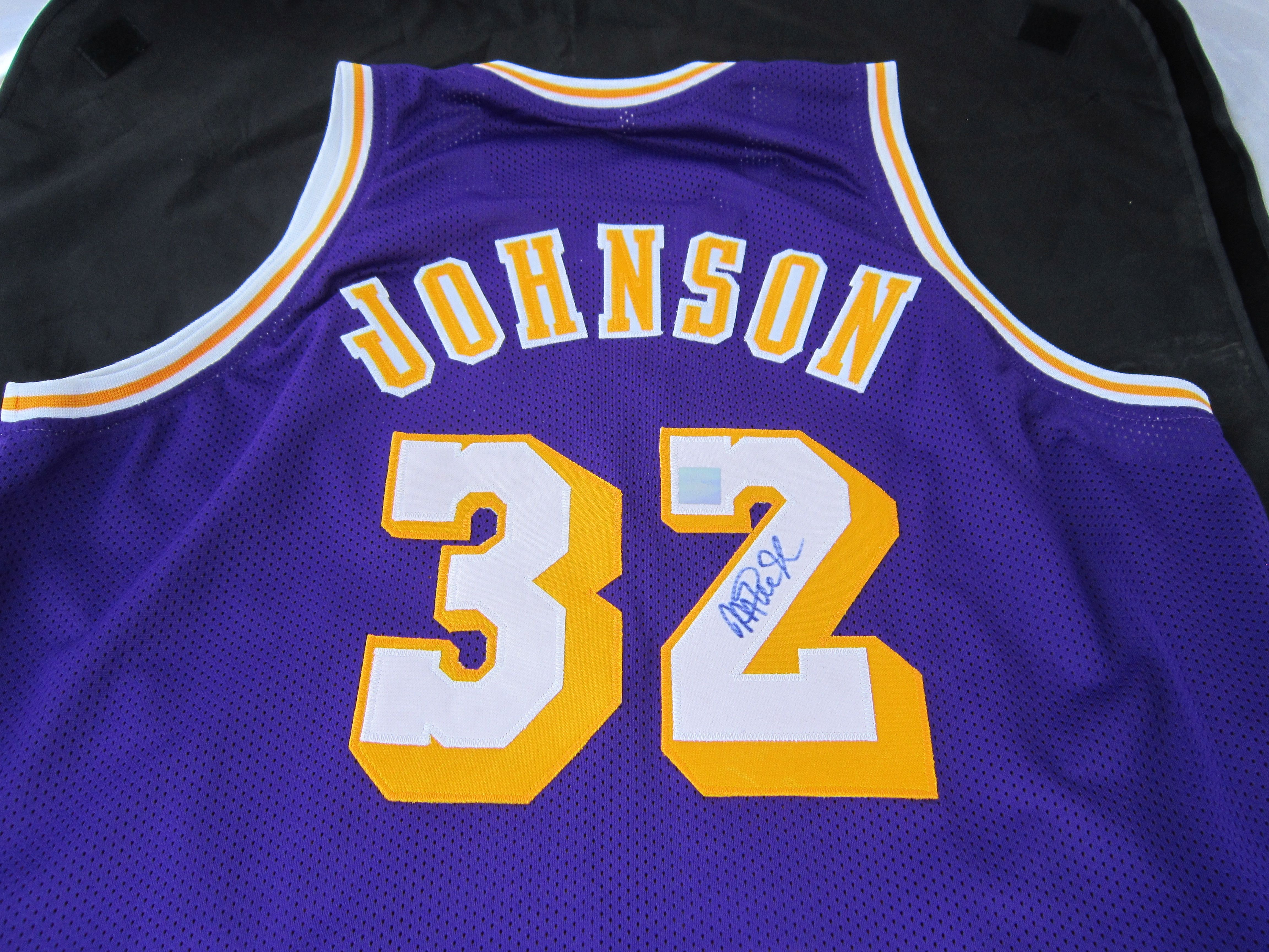 3e4b1f60a60 Magic Johnson Signed Lakers Purple XL Jersey - SuperStar Authentic ...